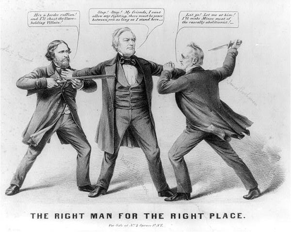 Contemporary cartoon. Fillmore is keeping apart pro-slavery James Buchanan and abolitionist John C. Fremont.